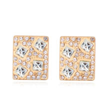 Kristályos négyzet -fehér - Swarovski kristályos fülbevaló