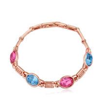 Ornament - Swarovski kristályos karkötő - világoskék-rózsaszín