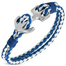Anchorissime - horgony karkötő - ezüst - kék, fehér műbőr