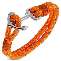 Anchorissime - horgony karkötő - ezüst - narancssárga műbőr