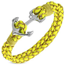 Anchorissime - horgony karkötő - ezüst - citromsárga műbőr