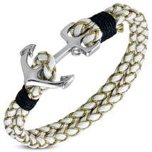 Anchorissime - horgony karkötő - ezüst -  fehér műbőr,aranyzsinórral