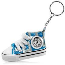 Műbőr cipő - órás kulcstartó -  világoskék-ezüst