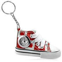 Műbőr cipő - órás kulcstartó -  piros-fehér