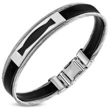 Sodrony fekete vésettel - acél karkötő