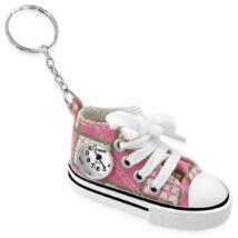 Műbőr cipő - órás kulcstartó -  rózsaszín-kockás