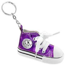 Vászoncipő - órás kulcstartó -  élénklila