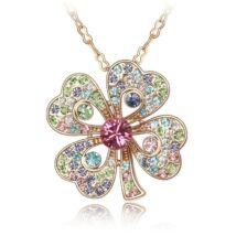 Arany lóhere - Swarovski kristályos nyaklánc, színes, rózsaszín