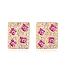 Kristályos négyzet -rózsaszín- Swarovski kristályos fülbevaló