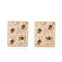 Kristályos négyzet -sötét borostyán- Swarovski kristályos fülbevaló