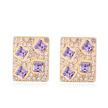Kristályos négyzet -lila- Swarovski kristályos fülbevaló