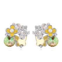 Rózsa-virág-özön - Sawrovski kristályos fülbevaló - színjátszó zöld