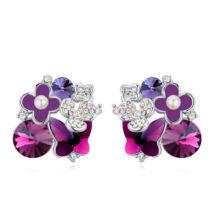 Rózsa-virág-özön - Sawrovski kristályos fülbevaló - lila