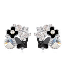 Rózsa-virág-özön - Sawrovski kristályos fülbevaló - fekete
