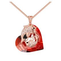 The fish heart - Swarovski kristályos nyaklánc - piros