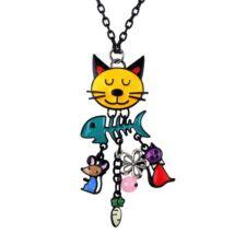 Elégedett macska - nyaklánc - színes