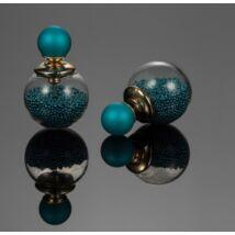 Dupla fülbevaló - apró gyöngyökkel és gömbbel- sötét türkiz