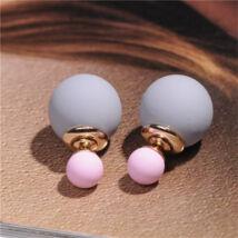 Dupla gyöngy fülbevaló - szürke-rózsaszín