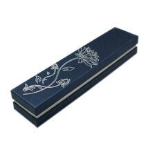 Lótuszvirágos díszdoboz - láncokhoz, karkötőhöz- sötétkék, 22,5*4,7 cm