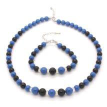Swarovski gyöngy ékszerszett -  Turquoise, Mystic Black