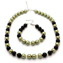 Swarovski gyöngy ékszerszett - Iridescent Green, Mystic Black