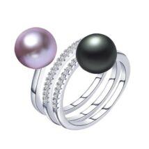 Jenny - valódi gyöngyből készült gyűrű - rózsaszín, fekete