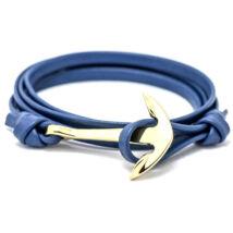 Anchorissime - horgony karkötő - arany-kék műbőr