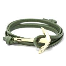 Anchorissime - horgony karkötő - arany-zöld műbőr