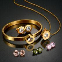 Cserélhető köves, karpereces nemesacél ékszerszett fülbevalóval, AJÁNDÉK 4 készlet, különböző színű cirkóniakővel - arany