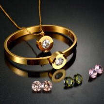 Cserélhető köves, karpereces nemesacél ékszerszett, AJÁNDÉK 4 készlet, különböző színű cirkóniakővel - arany