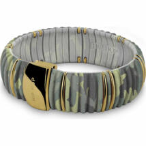 HIP-HOP Jewels - Kint - szilikon-nemesacél-szövet karkötő - terepszín