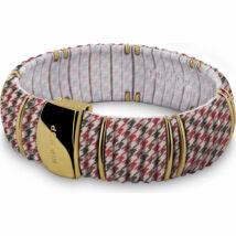 HIP-HOP Jewels - Kint - szilikon-nemesacél-szövet karkötő - piros kockás