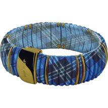 HIP-HOP Jewels - Kint - szilikon-nemesacél-szövet karkötő - kék kockás