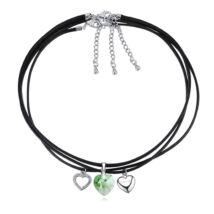 Szívözön -Swarovski kristályos viaszolt 3 az 1ben nyaklánc-zöld