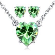 Kristály szív ékszerszett - Swarovski kristályos-zöld