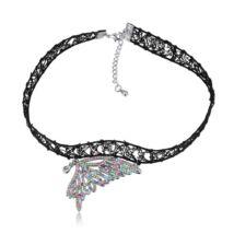 Gótikus csipkés nyaklánc- pillangó szárny alakú medállal- színes