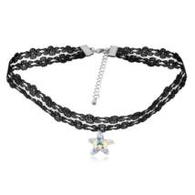Gótikus csipkés nyaklánc- csillag alakú Swarovski kristállyal- fehér