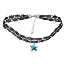 Gótikus csipkés nyaklánc- csillag alakú Swarovski kristállyal- kék