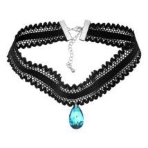 Gótikus csipkés nyaklánc- csepp alakú Swarovski kristállyal- sötét kék