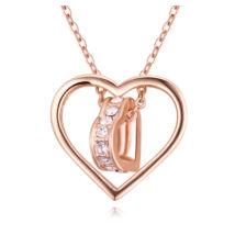 Áttört szív - Swarovski kristályos nyaklánc - rózsaarany