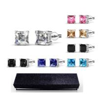 7 nap, 7 ékszer - ékszerdobozos Swarovski kristályos fülbevaló kollekció - 5,2 mm, négyzet alakú kristályos