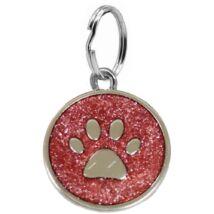 Mancs mintájú, színes, garvírozható nemesacél medál kutyáknak - piros