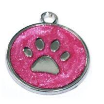 Mancs mintájú, színes, garvírozható nemesacél medál kutyáknak - sötétrózsaszín