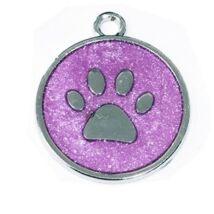 Mancs mintájú, színes, garvírozható nemesacél medál kutyáknak - lila