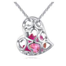 Kristályos szív - Swarovski kristályos nyaklánc - rózsaszín