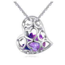 Kristályos szív - Swarovski kristályos nyaklánc - lila