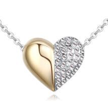 Arany kis szívem - Swarovski kristályos nyaklánc - fehér