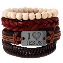 Cool - valódi bőr karkötő szett  - I LOVE JESUS