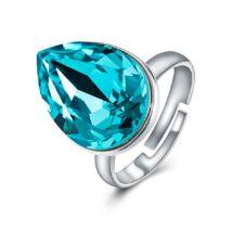 Ragyogó csepp - állítható méretű Swarovski kristályos gyűrű - Blue Zircon