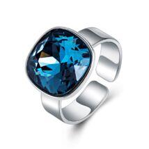 Ékkő - állítható méretű Swarovski kristályos gyűrű - Dark Saphire